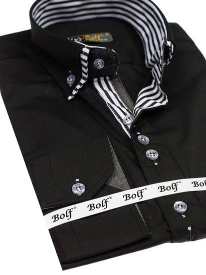 Černá pánská elegantní košile s dlouhým rukávem Bolf 4703