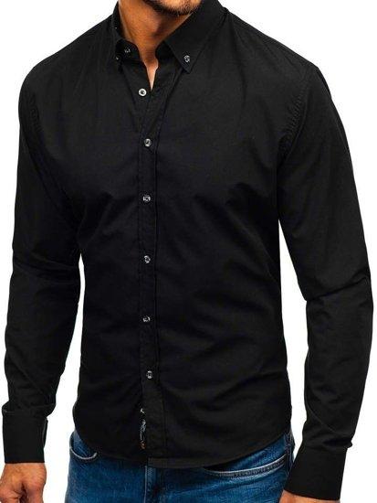 Černá pánská elegantní košile s dlouhým rukávem Bolf 5821