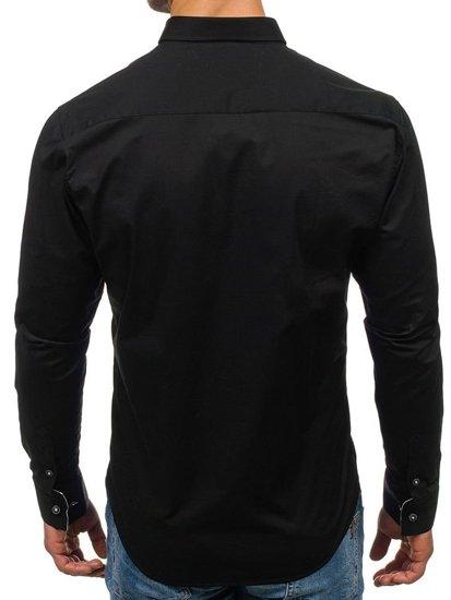 Černá pánská elegantní košile s dlouhým rukávem Bolf 7711