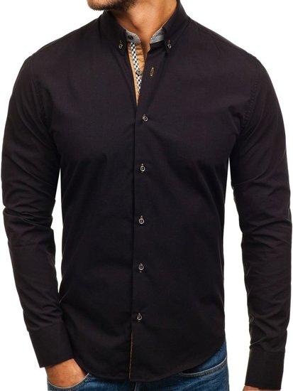 Černá pánská elegantní košile s dlouhým rukávem Bolf 8801