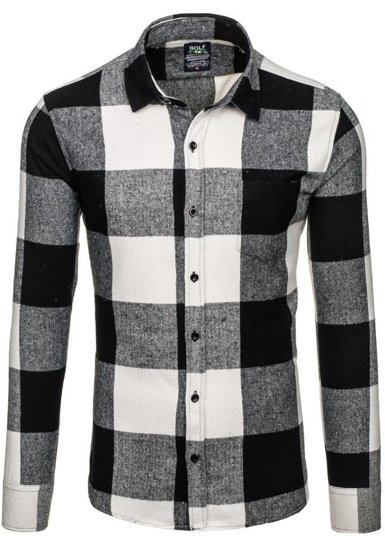 Černá pánská flanelová košile s dlouhým rukávem Bolf 801