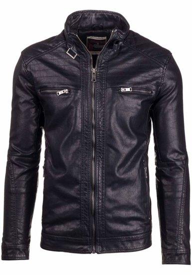 Černá pánská kožená bunda z ekokůže Bolf 278