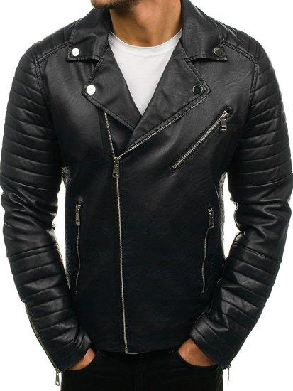 Černá pánská koženková bunda Bolf 4796