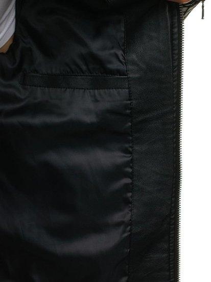 Černá pánská koženková bunda Bolf 9123