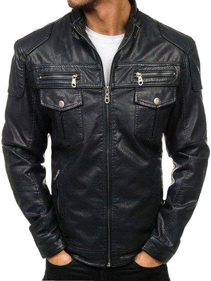 Černá pánská koženková bunda Bolf EX282