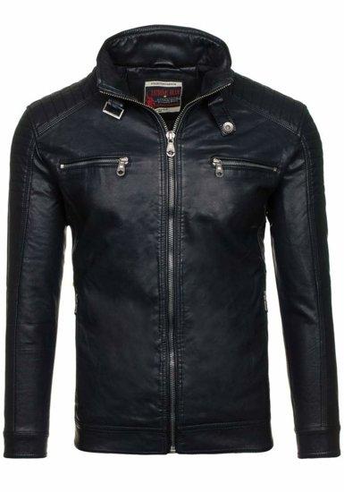 Černá pánská koženková bunda Bolf EX305