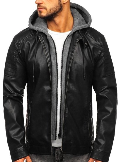 Černá pánská koženková bunda s kapucí Bolf 1136
