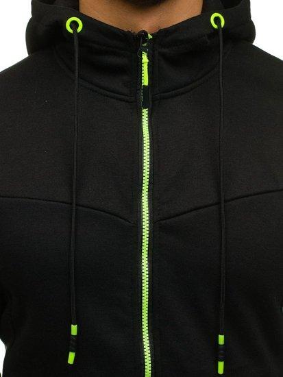 Černá pánská mikina na zip s kapucí Bolf DD75