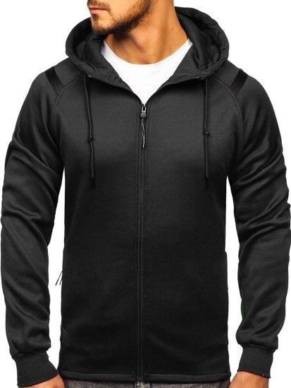Černá pánská mikina na zip s kapucí Bolf YD88003