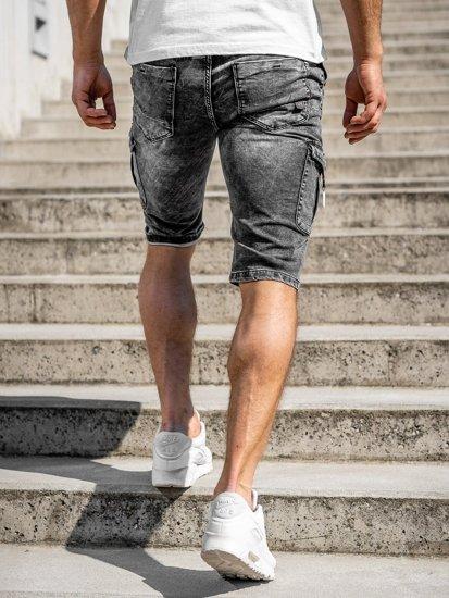 Černé pánské džínové kraťasy Bolf KR1201