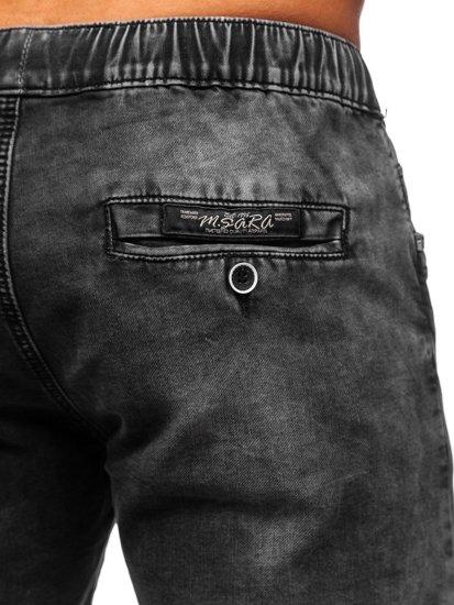 Černé pánské džínové kraťasy Bolf KR1206