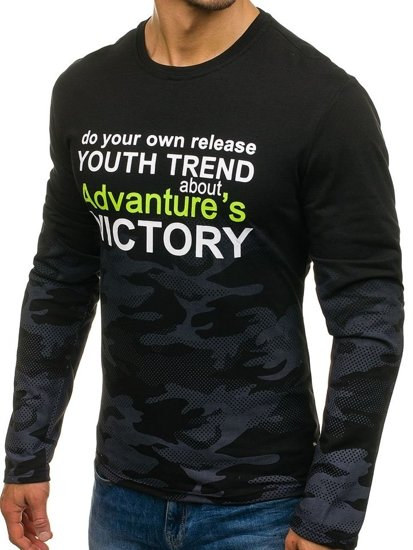 Černé pánské tričko s dlouhým rukávem a potiskem Bolf SX051