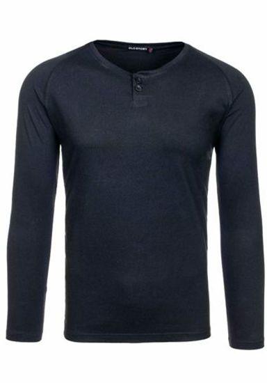 Černé pánské tričko s dlouhým rukávem bez potisku Bolf 5547