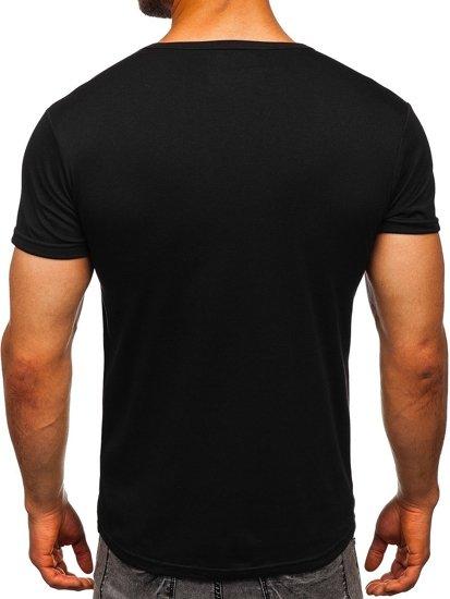 Černé pánské tričko s potiskem Bolf 10816