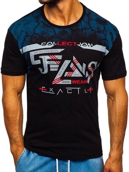 Černé pánské tričko s potiskem Bolf 14227-1