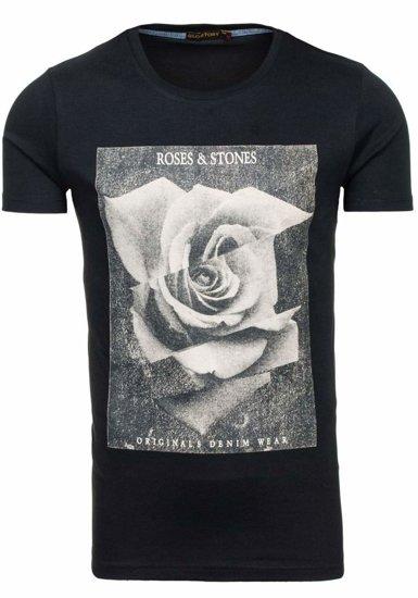 Černé pánské tričko s potiskem Bolf 2017