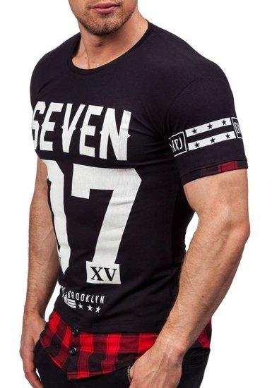 Černé pánské tričko s potiskem Bolf 5112
