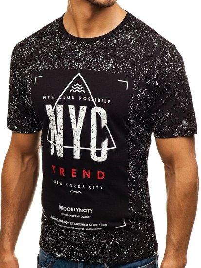 Černé pánské tričko s potiskem Bolf 6302