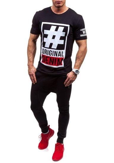 Černé pánské tričko s potiskem Bolf CMR20