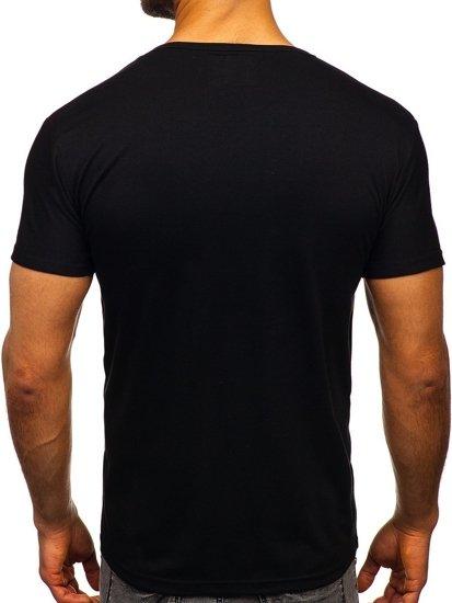 Černé pánské tričko s potiskem Bolf KS2027