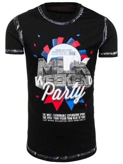 Černé pánské tričko s potiskem Bolf S028