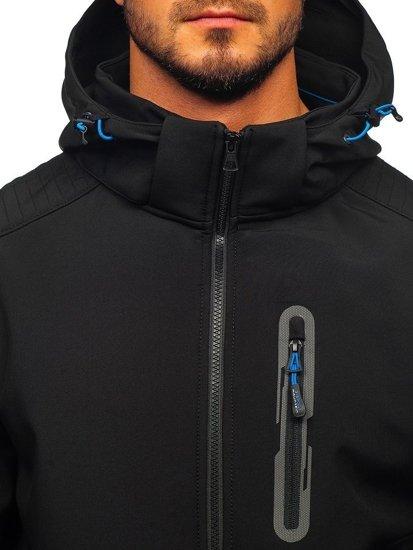 Černo-modrá pánská softshellová bunda Bolf 12263