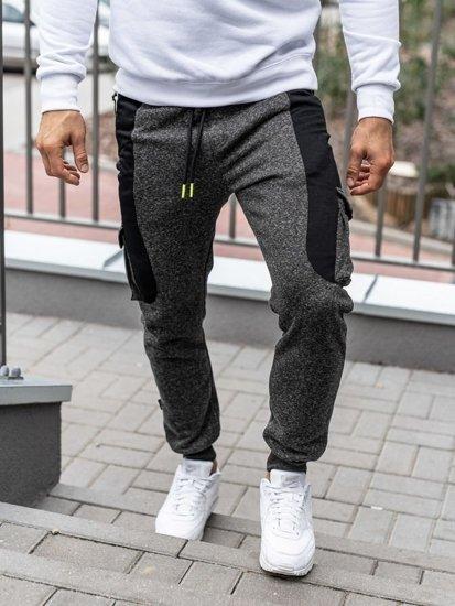 Černo-neónové pánské jogger tepláky Bolf Q3774