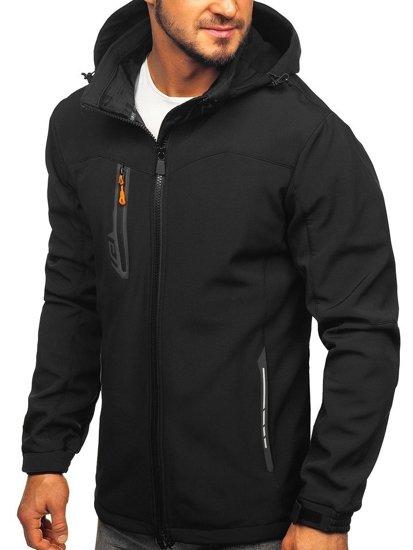 Černo-oránžová pánská softshellová bunda Bolf 12268
