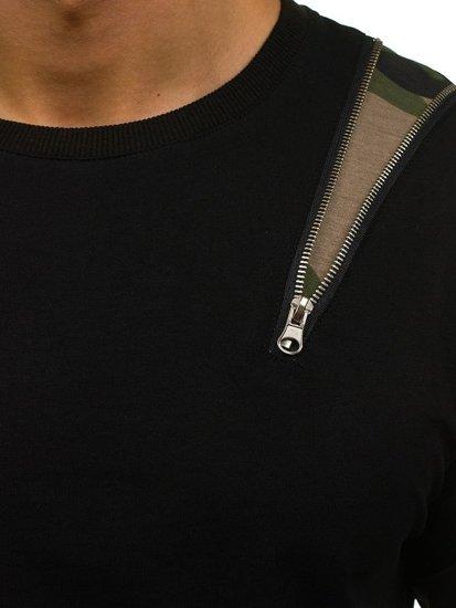 Černo-zelená pánská mikina bez kapuce Bolf 0754