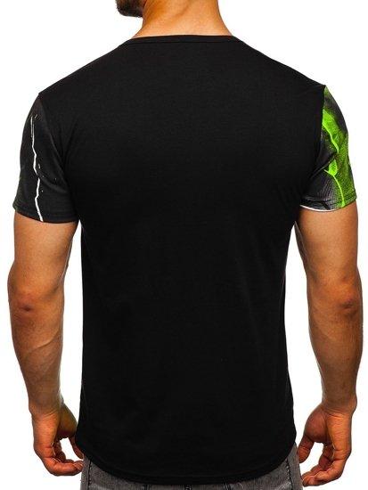 Černo-zelené pánské tričko s potiskem Bolf SS11117