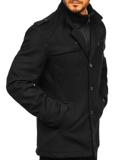 Černý pánský kabát Bolf 8856