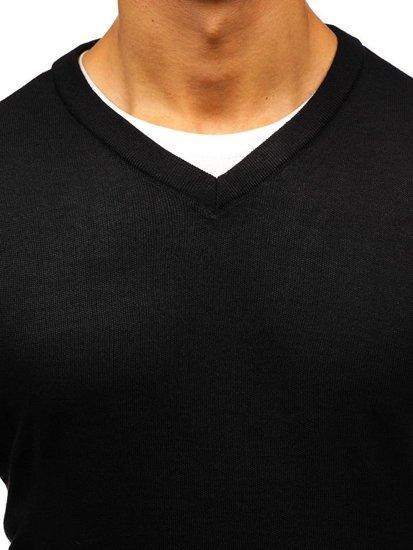Černý pánský svetr s výstřihem do V Bolf BM6108