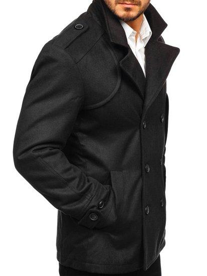 Černý pánský zimní kabát Bolf 3118