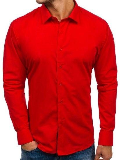 Červená pánská elegantní košile s dlouhým rukávem Bolf TS100