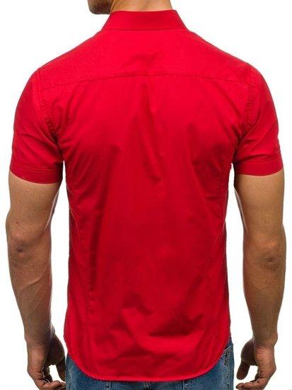 Červená pánská elegantní košile s krátkým rukávem Bolf 7501