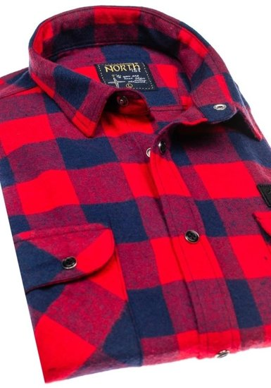 Červená pánská flanelová košile s dlouhým rukávem Bolf 2503