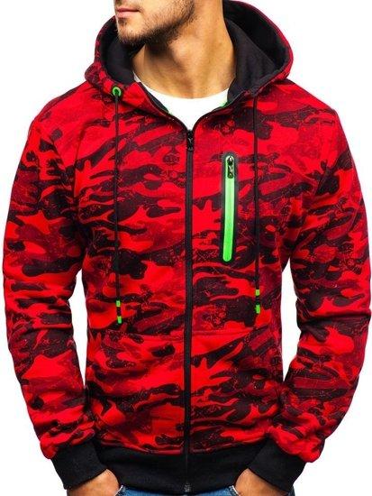 Červená pánská maskáčová mikina na zip s kapucí Bolf 33013