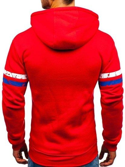 Červená pánská mikina s kapucí a potiskem Bolf 11009