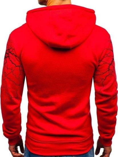 Červená pánská mikina s kapucí a potiskem Bolf 11011