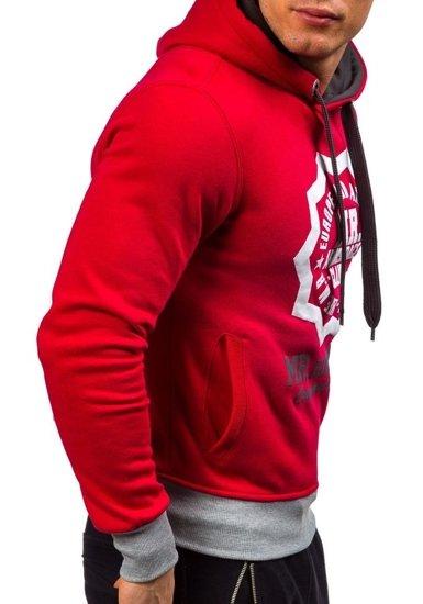 Červená pánská mikina s kapucí s potiskem Bolf 1054