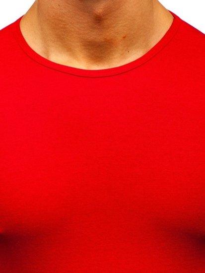 Červené pánské tričko bez potisku Bolf 0001