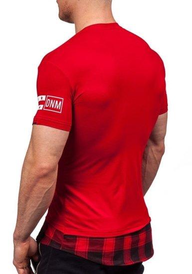 Červené pánské tričko s potiskem Bolf 5112