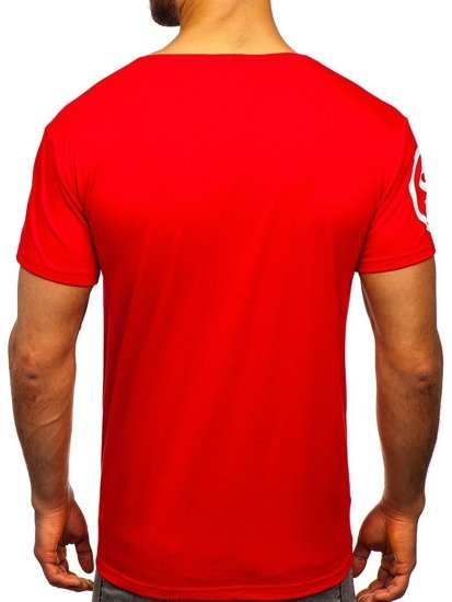 Červené pánské tričko s potiskem Bolf KS1952