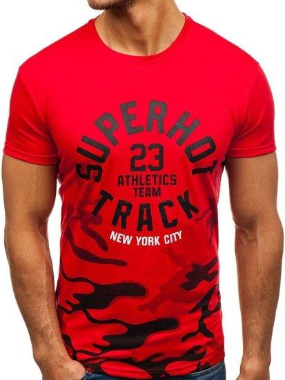 Červené pánské tričko s potiskem Bolf SS241