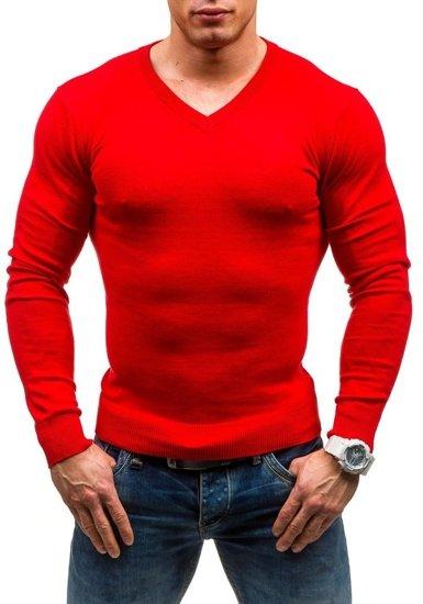 Červený pánský svetr s výstřihem do V Bolf 1813