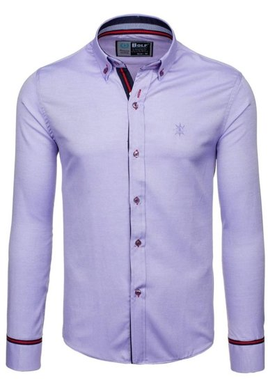 Fialová pánská elegantní košile s dlouhým rukávem Bolf  5801-A