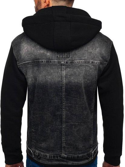 Grafitová pánská džínová bunda s kapucí Bolf 10350