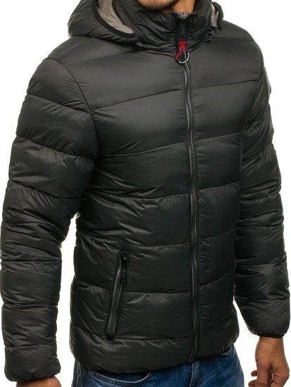 Grafitová pánská sportovní zimní bunda Bolf 1113