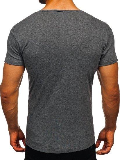 Grafitové pánské tričko bez potisku Bolf NB003