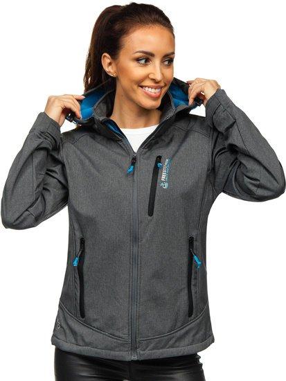 Grafitovo-modrá dámská přechodová softshellová bunda Bolf AB002